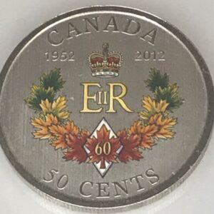 Canadian 50 Cents - Elizabeth II Diamond Jubilee 1952-2012