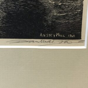 """Antique wood engraving by Dan Watson, """" Anstey Mill 1940"""""""