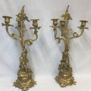 Pair of French Dore Bronze Cherub Putti Figural Louis XVI Candelabras