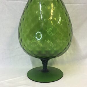 Large MCM Green footed glass vase