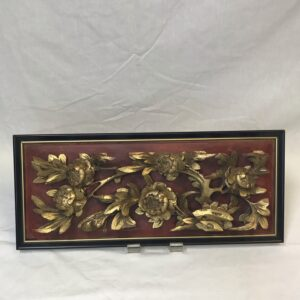 Chinese Gilded Temple Carving Flowers and Bird