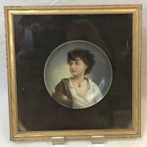 """Hand Painted Plate of """"Neapolitan Fisher Boy"""", After Gustav Karl Ludwig Richter"""
