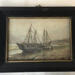 Antique Watercolour Coastal Scene of Fishing Boats, Dutch School, Signed MK