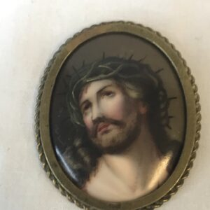 Miniature Porcelain Plaque of Jesus with the Crown of Thorns, Framed