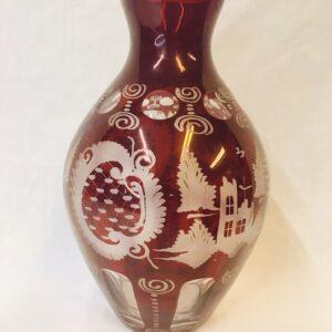 Large Bohemian Ruby Flash Cut Glass Vase