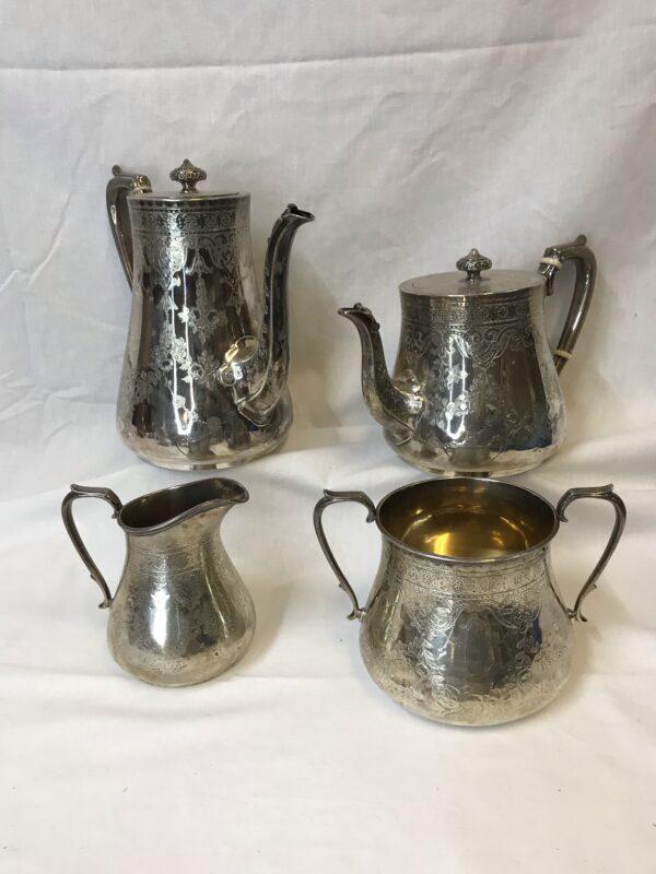 Antique English Victorian Sterling Silver 4 Piece Coffee & Tea Set