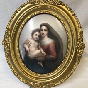 Large KPM Porcelain Plaque of Raphael's The Sistine Madonna