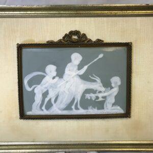 Pair of Limoges Jasperware Porcelain Plaque of Cherubs with Goats