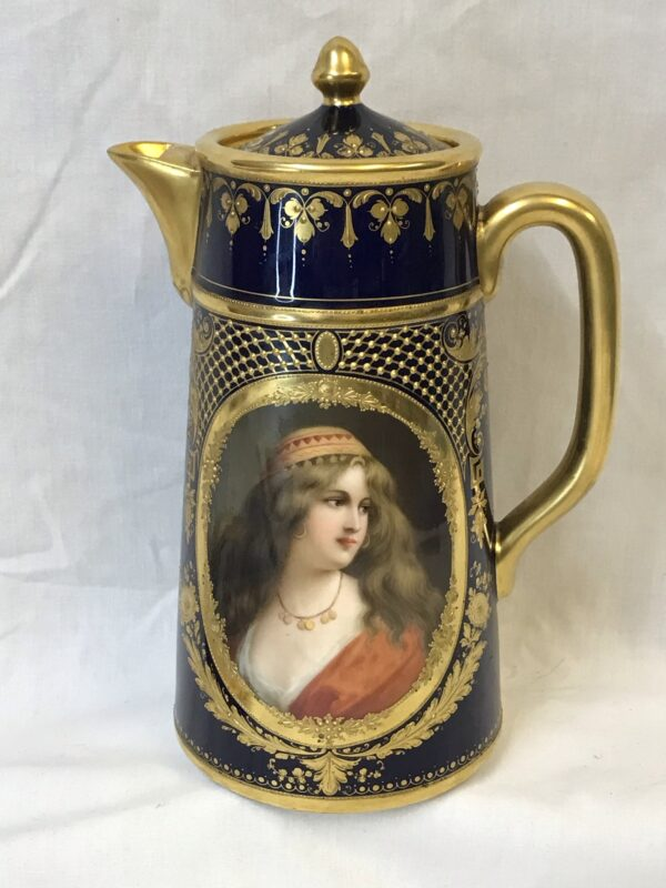 """Dresden Large Cocoa Pot Hand Painted Portrait of """"Yessida"""" Signed Wagner"""