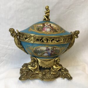 Antique Hand Painted Sevres Porcelain with Ormolu Mounts