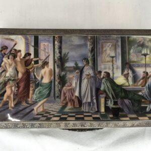 Antique Austrian Silver Enameled Table Box with Roman Motif
