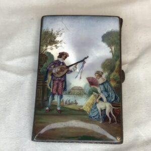 Antique Austrian 935 Silver Enameled Card Case