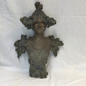 Art Nouveau Bronzed Bust Of A Girl With Flowers In Her Hair