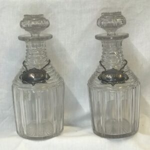 Pair of Georgian Cylinder Decanters with Labels