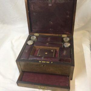 Antique English Walnut Travel Box
