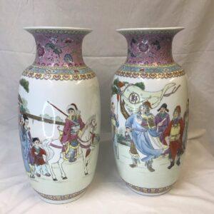 Pair Chinese Famille Rose Vase Jingdezhen Mark